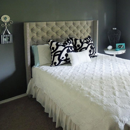 easy way to make DIY diamond tufted headboard
