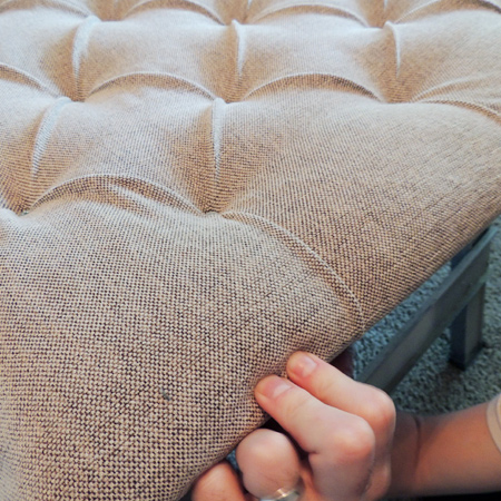 make DIY diamond tufted headboard