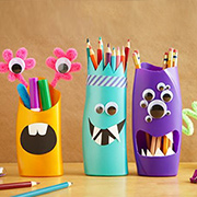 Recycle plastic bottles into pencil holders