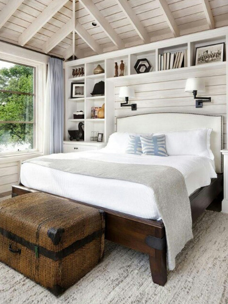 Storage ideas around the headboard to fit style of room