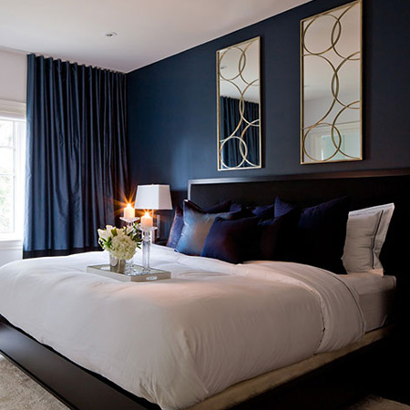 From aubergine to deep blue, dark colours create a romantic setting that, when dressed up, look elegant and sophisticated. However, limit the use of darker colours in a small bedroom, as these have the effect of making a room appear smaller. If you want to add drama to a small bedroom, paint a single wall or a panel in a dark hue.