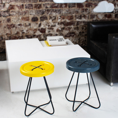button stool available in various colours and woods.