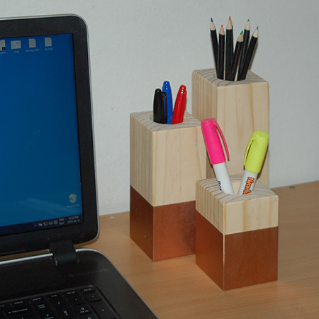 The same blocks can also be used as pen and pencil holders to keep your work space clutter-free. You will see below that it is easy enough to drill out the centre to make a handy holder.