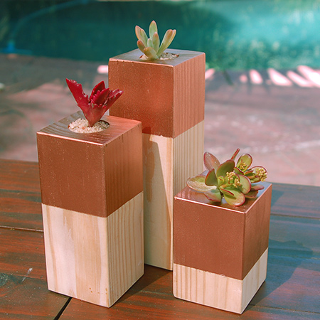 use these same blocks as plant holders. After coating the tops with several layers of spray paint that provides basic protection, pop in some succulents or air plants
