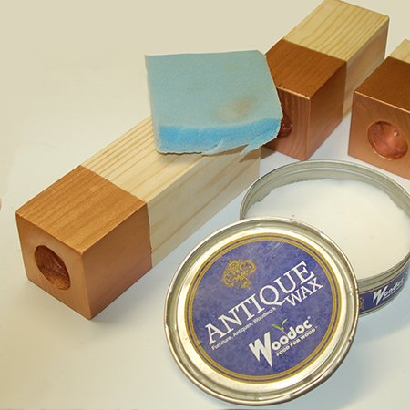 On the unpainted sections I applied Woodoc antique wax. This just offers a level of protection for the wood.