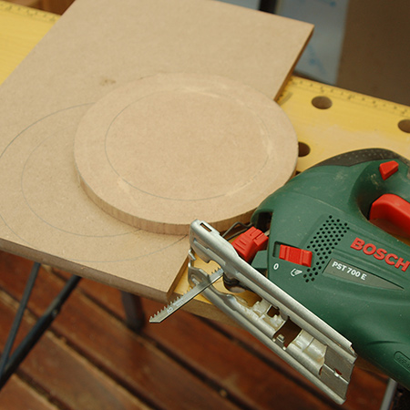 2. Draw a second circle inside the first, to mark the location for drilling the individual polish holders.