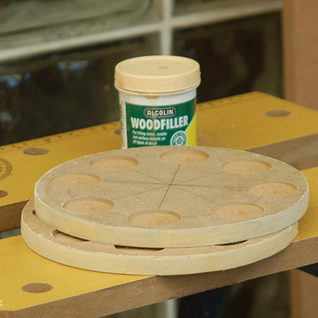 GOOD TO KNOW: If you will be finishing with spray paint, apply a thin layer of wood filler to the edges; let dry and then sand smooth. This will seal the edges and reduce the amount of spray paint needed.