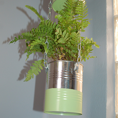Coffee cans become an attractive plant holder