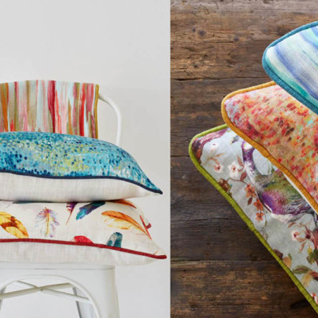 Now you can easily introduce colour and personality into your home with cushions upholstered in Fiesta range of fabrics.