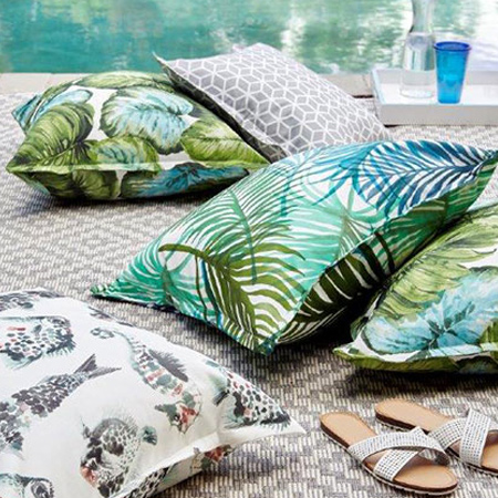Tropical and geometric prints continue to be a popular trend in the world of décor. Combine the two for a fabulous fusion of fabrics, and the bright colours and exciting prints will liven up outdoor spaces.