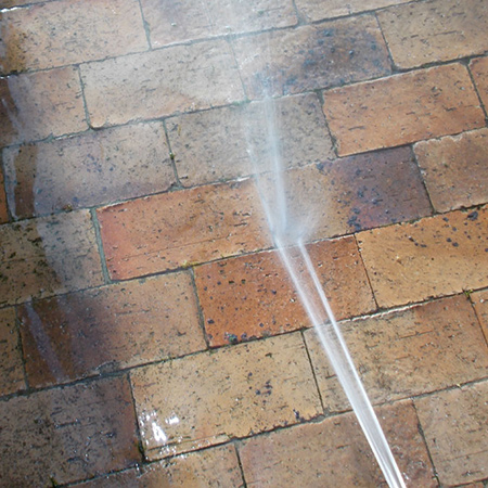 You can use your homemade pressure washer to clean small areas of paving or walls.
