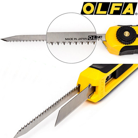 With Olfa's CS-5 combination keyhole saw and cutting knife you only need one tool. With its dual blade system you have a snap-off blade cutter and keyhole saw all in one.