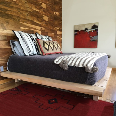 Pine scaffolding planks are perfect for making this chunky platform bed. You can buy these at most timber merchants and they are reasonably priced if you are prepared to put in the effort of sanding them smooth, or lookout for reclaimed scaffolding planks online.