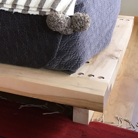 BELOW: Secure the supports to the frame with 5 x 60mm screws. Also add a support underneath from the top to the bottom, underneath the bed supports, to provide sufficient support for a heavy mattress.