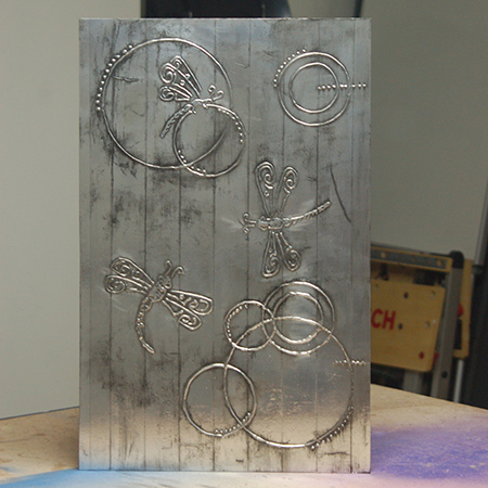 HOME DZINE Craft Ideas   Faux pewter wall art