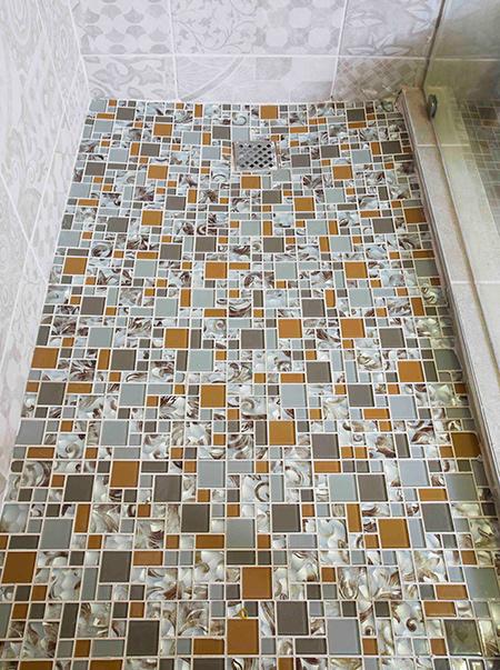 Home Dzine Bathrooms Install Glass Mosaics On Shower Floor