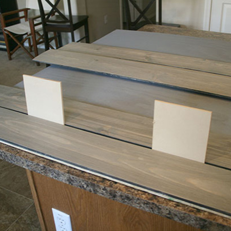 Affordable pine and plywood headboard
