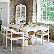 Use felled tree stumps for dining tables
