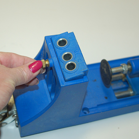 The drill guide (shown below) can be removed from the clamping system and used in conjunction with the clamp for larger projects that won't fit in the clamping system.
