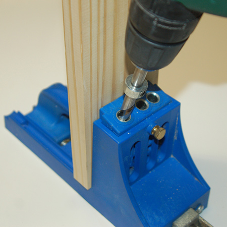 The guide prevents you from drilling too deep, which is important when using pine that can easily split. Have a couple of pieces of scrap pine on hand to test for the correct depth and then lock the guide in place for repeat drilling.