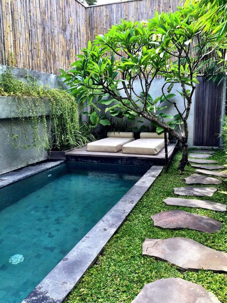 If you are considering installing a small pool in the garden, have it positioned to take advantage of full sun to heat up the pool without the aid of an expensive pool heating system.