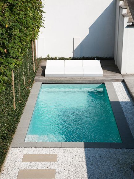 Another important consideration when having a pool installed in a small garden, is the pool surround. Nowadays there are plenty of options to choose from, from artificial grass, flagstones, to composite decking. Look at the layout of your garden and where the pool will be placed so that you can decide the best option for your particular situation.