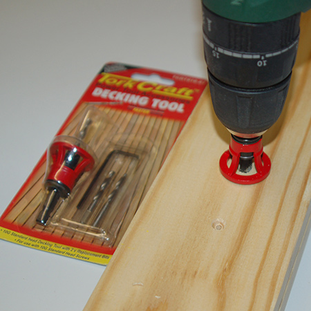 The Tork Craft Decking Tool is great for DIY Divas! Now you can cut down on the time spent drilling pilot holes and having to countersink all the holes by using one easy accessory.