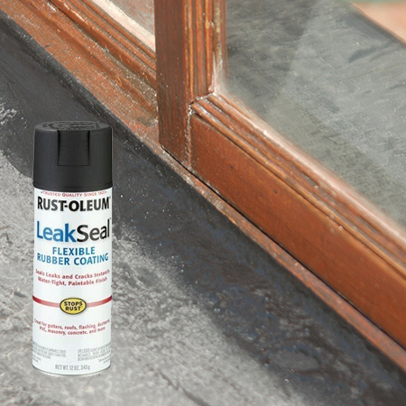 For this I used Rust-Oleum Leak Seal, which is a sprayable rubber coating that is ideal for areas such as this where you need a flexible sealer. You need a flexible sealer because the wood frame expands and contracts, so there is always some movement.