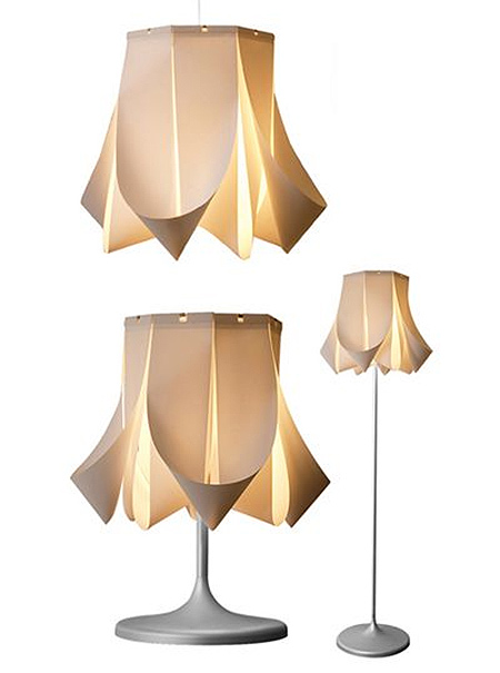 Here's an example of how you can recycle vertical blinds and turn them into eye-catching pendant light fittings, or replace the old fashioned shade on a table or floor lamp.