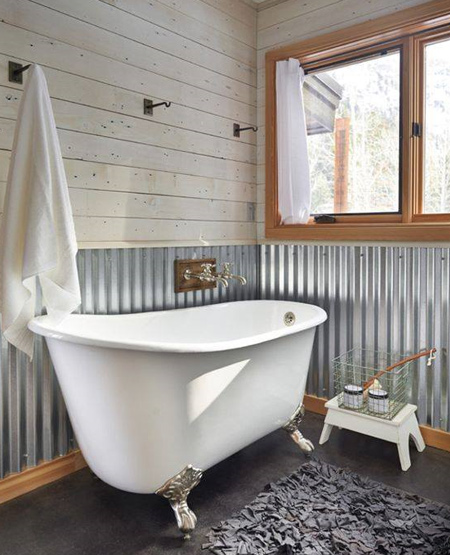 In a bathroom, corrugated panels offer a variety of finishing options to give this room a stand out feature.
