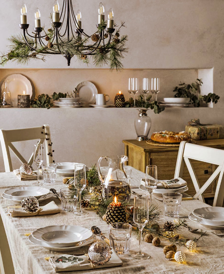 Intimate moments with family and friends around the dining table, with party dresses, table linens, crystal glassware, and Christmas decorations.