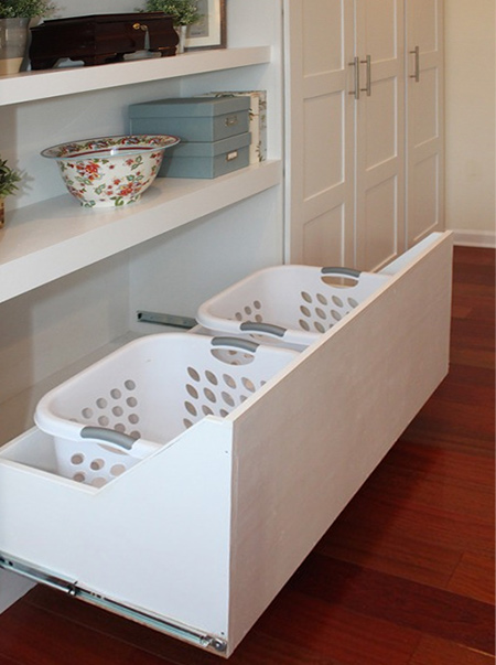 closet ideas pullout laundry baskets