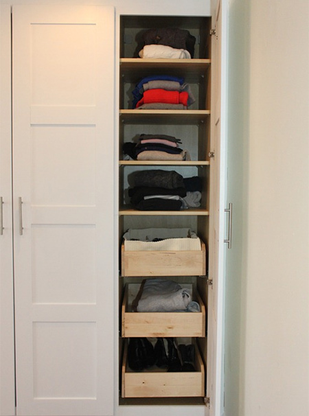 replace cupboard shelves with pullout drawer storage