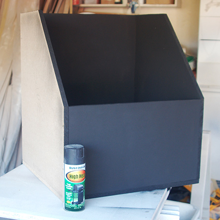 3. The entire box was sprayed with a coat of Rust-Oleum High Temperature spray paint. The lid is missing in the image shown, but this was also sprayed. I managed to do the entire box with one can of High Temperature spray paint.