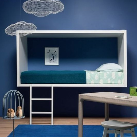 Colourful childrens or kids bedroom with prominent paints