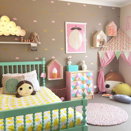 Colourful child or kids bedrooms with prominent paints
