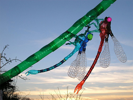 colourful dragonflies from recycled pet plastic bottles