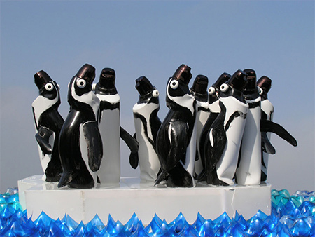 poignant penguins made from recycled pet plastic bottles