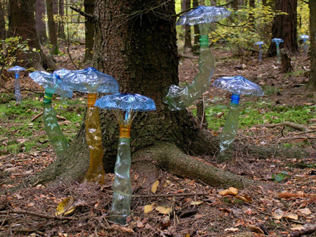 a collection of ethereal recycled PET plastic bottle toadstools