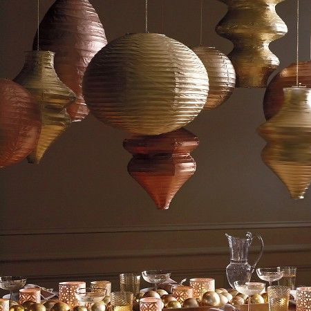 Paper lanterns - use Rust-Oleum spray paint to update everyday items into glamorous accessories