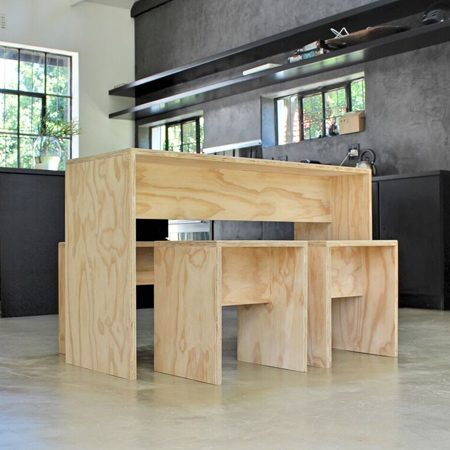 plywood dining table and benches