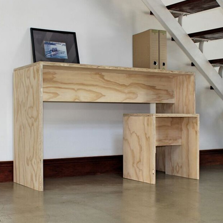 plywood desk and stool