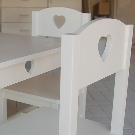 make diy childrens table and chairs furniture with heart cut outs