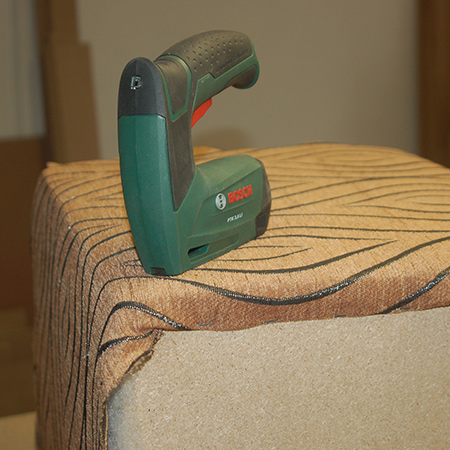 bosch tacker staple gun to make upholstered ottoman