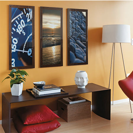 Make a bold display of art, posters or enlarged photos