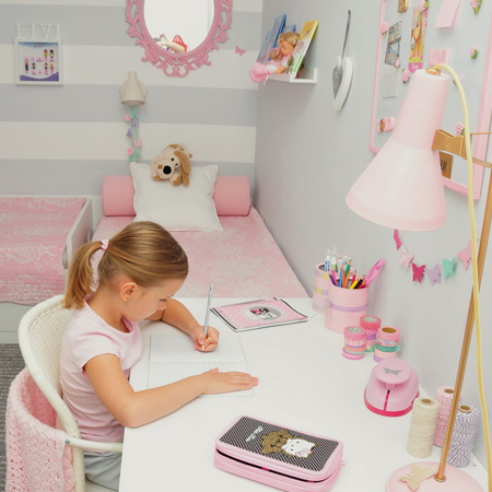Rust-Oleum 2X spray paint is the most affordable and easiest way to turn mismatched accessories into the perfect complementary pink pieces for a little girl's bedroom.