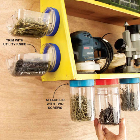 HOME-DZINE | Workshop Organisation - In a small workshop, use recycle small plastic food jars to corral your accessories. These jars can be mounted to the side of a cabinet, or secured underneath a shelf to allow you to see what's inside and have easy access.