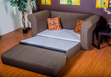a more traditional, upholstered sleeper couch