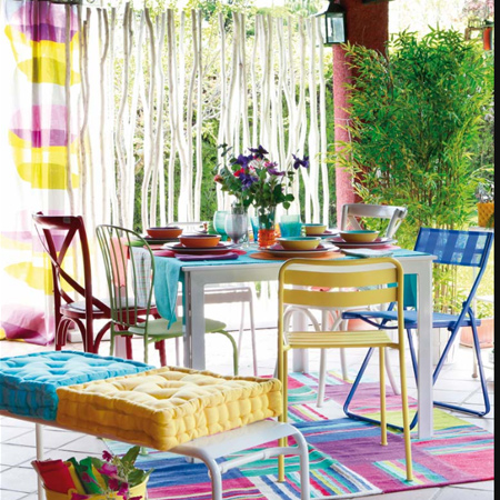 shady cool outdoor patio or deck colourful dining