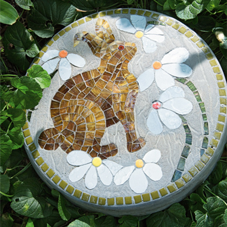 Mosaic stepping stones to decorate a path or walkway